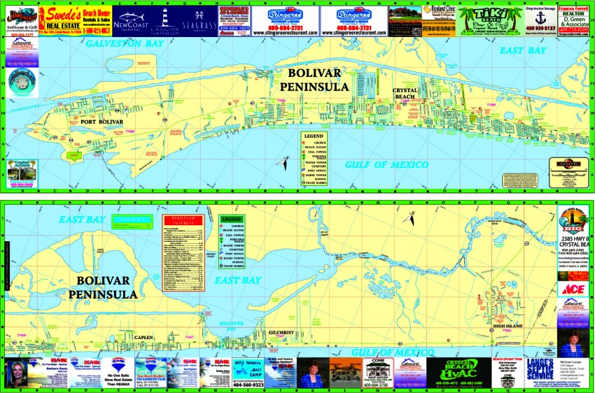 Map of Crystal Beach and Bolivar Peninsula