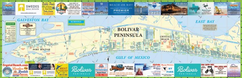 Crystal Beach Texas Map Map of Crystal Beach and Bolivar Peninsula
